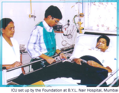 The ICU set up by the Foundation at B.Y.L. Nair Hospital, Mumbai
