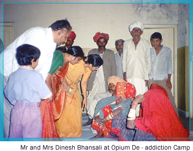 Mr and Mrs Dinesh Bhansali at Opium De-addiction Camp